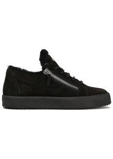 Giuseppe Zanotti Woman Zip-detailed Suede Sneakers Black
