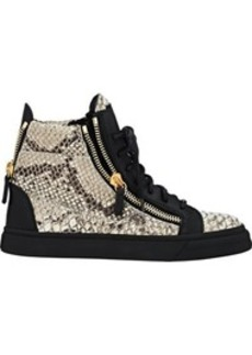 Giuseppe Zanotti Women's Croc-Stamped Double-Zip Sneakers-GREY Size 6