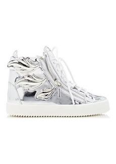 """Giuseppe Zanotti Women's """"Cruel"""" Double-Zip Sneakers-SILVER Size 8.5"""