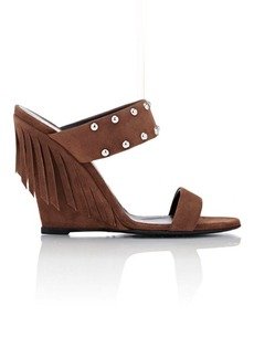 Giuseppe Zanotti Women's Double-Band Wedge Sandals-BROWN Size 6.5
