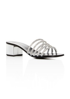 Giuseppe Zanotti Women's Embellished Leather Block-Heel Slide Sandals