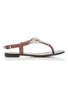 Giuseppe Zanotti Women's Embellished Leather T-Strap Sandals