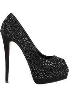 Giuseppe Zanotti Women's Embellished Suede Platform Pumps-Black Size 10