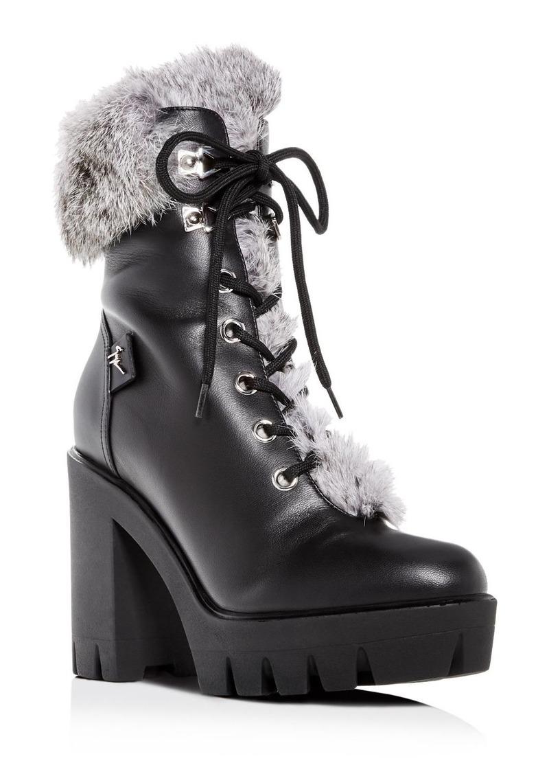 Giuseppe Zanotti Women's Gintonic Leather & Rabbit Fur Block-Heel Platform Combat Boots