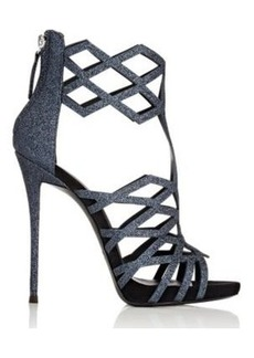 Giuseppe Zanotti Women's Laser-Cut Caged Sandals-NAVY Size 6.5