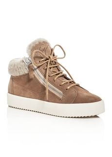 Giuseppe Zanotti Women's May London Suede Shearling Lined Mid Top Sneakers