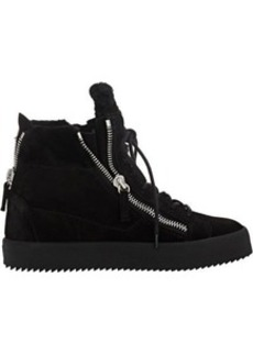 Giuseppe Zanotti Women's Shearling-Lined Double-Zip Sneakers-BLACK Size 6