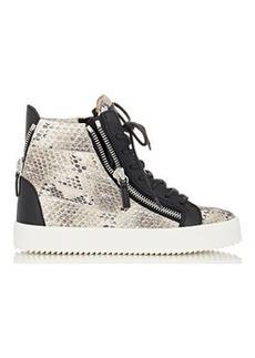 Giuseppe Zanotti Women's Snakeskin-Stamped Double-Zip Sneakers-WHITE Size 6.5