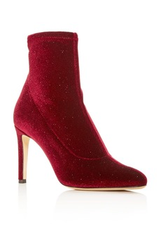 Giuseppe Zanotti Women's Stretch Glitter Velvet Pointed Toe Booties