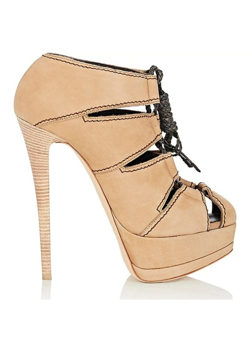 Giuseppe Zanotti Women's Topstitched Suede Platform Ankle Booties