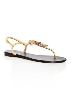 Giuseppe Zanotti Women's Toucan Embellished Leather T-Strap Sandals