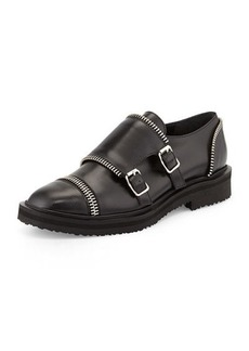 Giuseppe Zanotti Zip-Trim Leather Monk Loafer