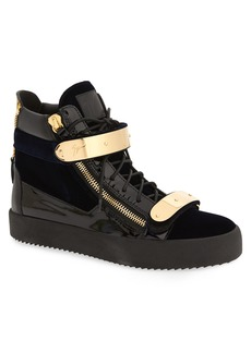 Giuseppe Zanotti Gold Bar High Top Sneaker (Men)