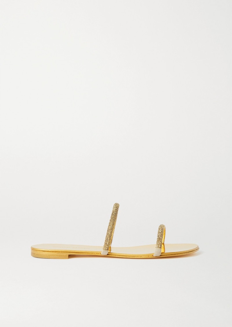 Giuseppe Zanotti Kanda Crystal-embellished Metallic Leather Sandals