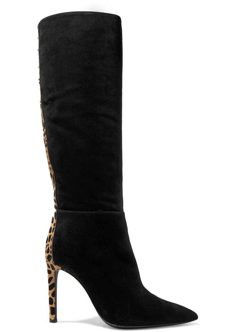 Giuseppe Zanotti Kanda Suede And Leopard-print Calf Hair Knee Boots