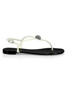 Giuseppe Zanotti Karmen Crystal-Embellished Leather Thong Sandals