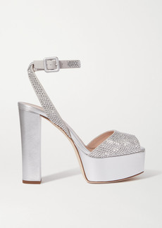 Giuseppe Zanotti Lavina Crystal-embellished Metallic Leather Platform Sandals