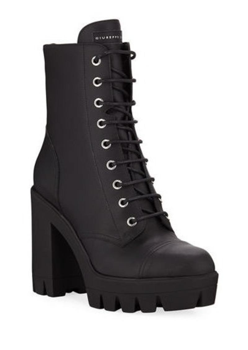 Leather Block-Heel Combat Boots