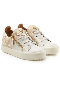 Giuseppe Zanotti Leather Platform Sneakers with Velvet