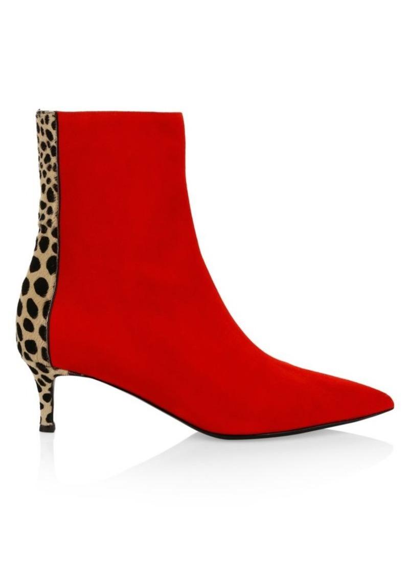 Giuseppe Zanotti Leopard-Print Calf Hair & Suede Kitten Heel Ankle Boots