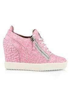 Giuseppe Zanotti Lilium Double-Zip Croc-Embossed Leather Wedge Sneakers