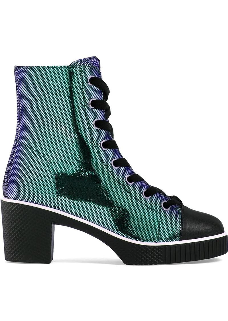Giuseppe Zanotti metallic lace-up leather boots