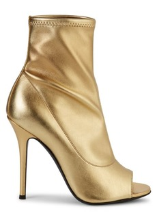 Giuseppe Zanotti Metallic Open-Toe Leather Booties