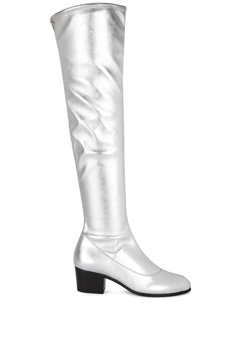 Giuseppe Zanotti metallic silver knee-length boots