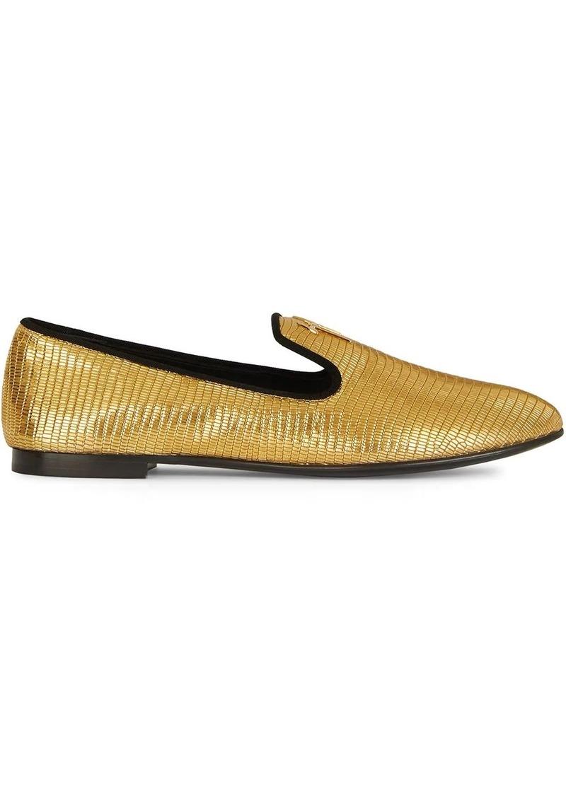 Giuseppe Zanotti metallic snakeskin-effect loafers