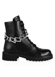 Giuseppe Zanotti Nevada Chain-Trimmed Leather Combat Boots