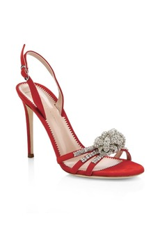 Giuseppe Zanotti Ornament Crystal Suede Slingback Sandals