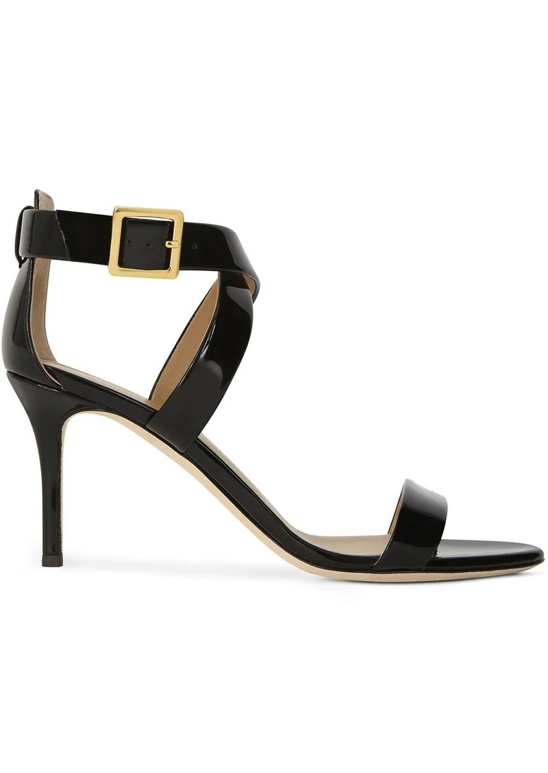 Giuseppe Zanotti patent cross-strap high-heel sandals