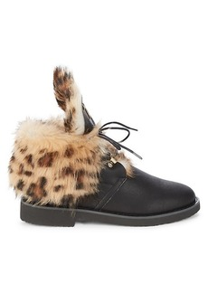 Giuseppe Zanotti Printed Shearling & Leather Booties