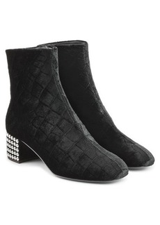 Giuseppe Zanotti Quilted Velvet Ankle Boots with Embellished Heel