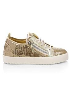 Giuseppe Zanotti Side Zip Sequin Leather Platform Sneakers