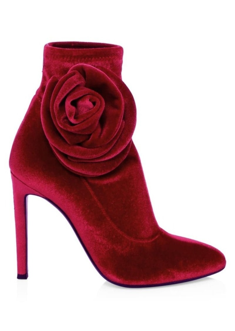 Giuseppe Zanotti Single Rose Stiletto Heel Velvet Booties
