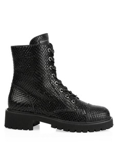 Giuseppe Zanotti Snake-Embossed Leather Combat Boots