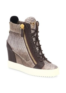 Giuseppe Zanotti Snake-Embossed Leather High-Top Wedge Sneakers
