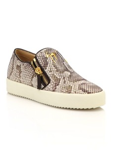 Giuseppe Zanotti Snake-Embossed Leather Zip Skate Sneakers
