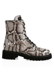 Giuseppe Zanotti Snake-Print Leather Combat Boots
