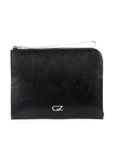 Giuseppe Zanotti snakeskin-effect logo clutch bag