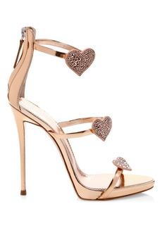Giuseppe Zanotti Swarovski Crystal & Leather Stiletto Heart Sandals