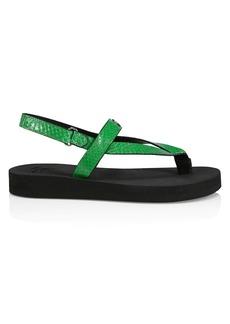 Giuseppe Zanotti Tasmania Snakeskin-Embossed Leather Sport Sandals