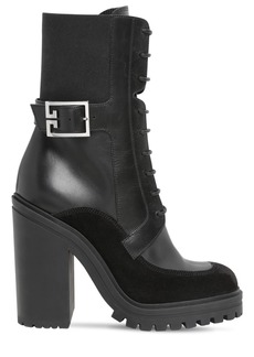 Givenchy 120mm Leather & Suede Lace-up Boots