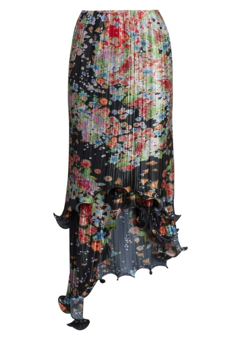 Givenchy Asymmetric Pleated Floral Wave Skirt