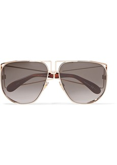 Givenchy Aviator-style Rose Gold-tone And Acetate Sunglasses