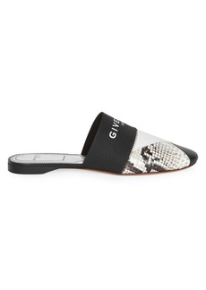 Givenchy Bedford Flat Snakeskin Leather Mules