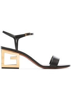 Givenchy black 60 triangle cutout heel leather sandals