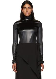 Givenchy Black Faux-Leather Turtleneck Bodysuit