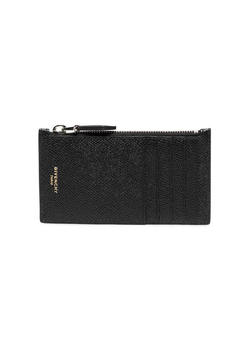 Givenchy black grained leather zip cardholder